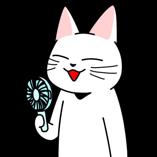 ハンディファンで涼しい風を浴びる猫のイラスト