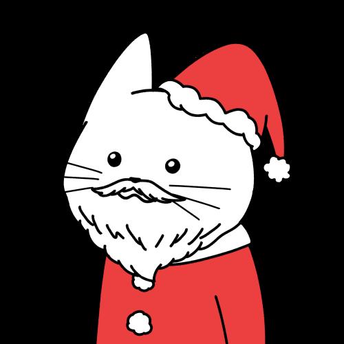 サンタクロースの格好をした猫のイラスト