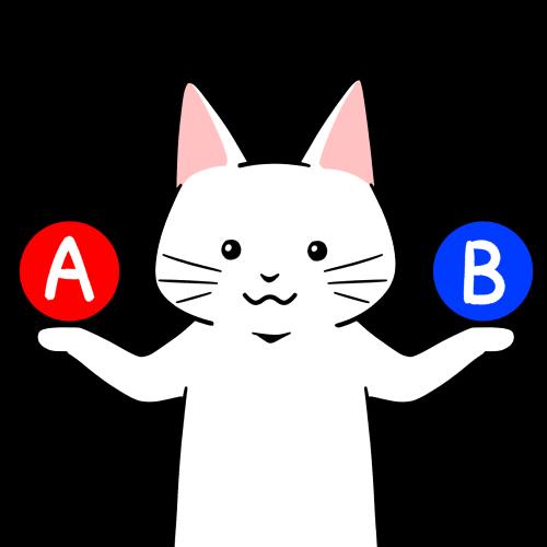 AとBの比較提案する猫のイラスト