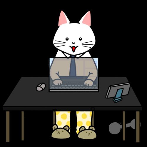 上だけスーツでリモートワークをする猫のイラスト