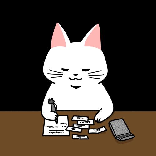 領収書を整理する経理のイラスト(机色あり)