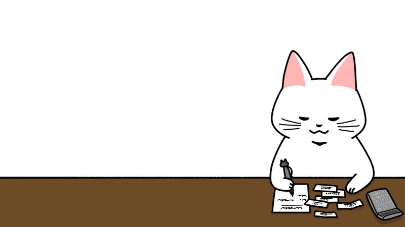 領収書を整理する経理のイラスト(見出しサイズ/右配置)