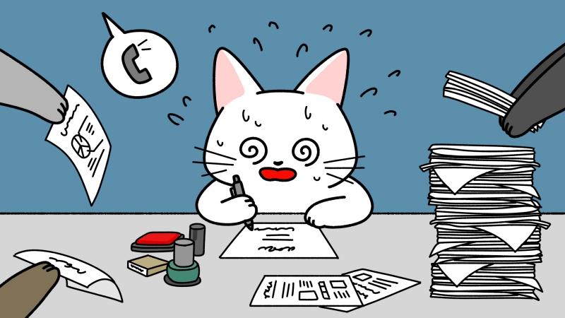 仕事が忙しくて目が回る猫のイラスト(見出しサイズ)