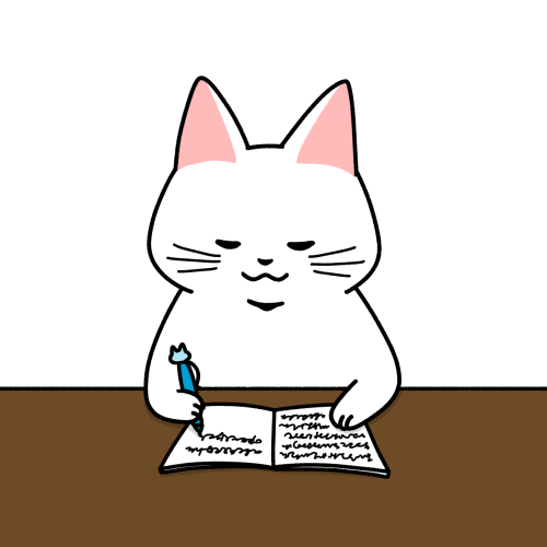 勉強する猫のイラスト(机色あり)