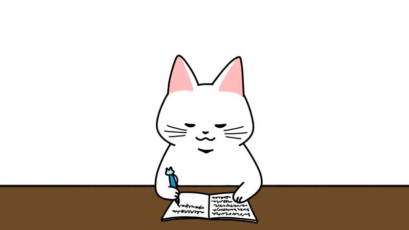 勉強する猫のイラスト(見出しサイズ/中央)