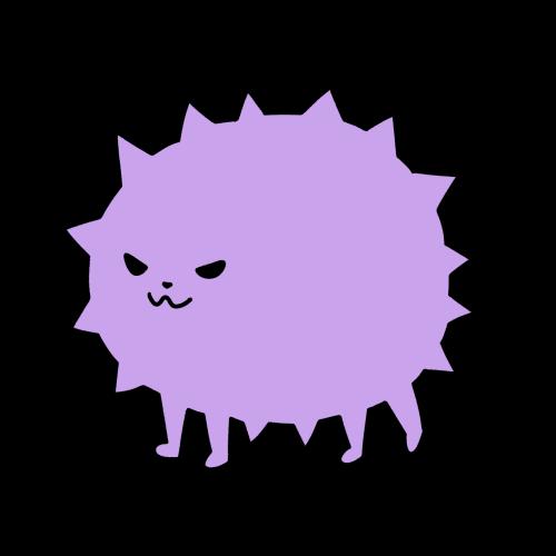 紫のトゲトゲしたウイルスのイラスト