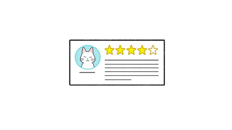高評価なレビューのイラスト(星4つ)
