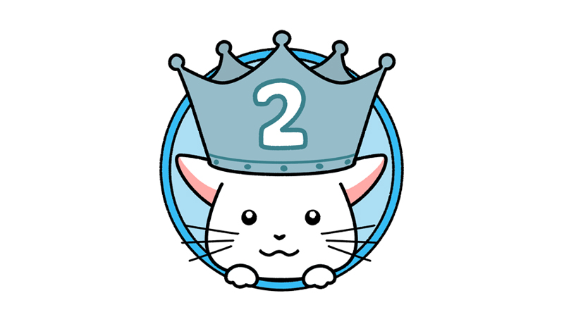 ランキング2位の王冠をかぶった猫のイラスト