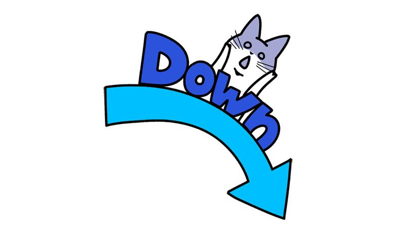 猫が飛び出すダウンする(下がる)矢印イラスト