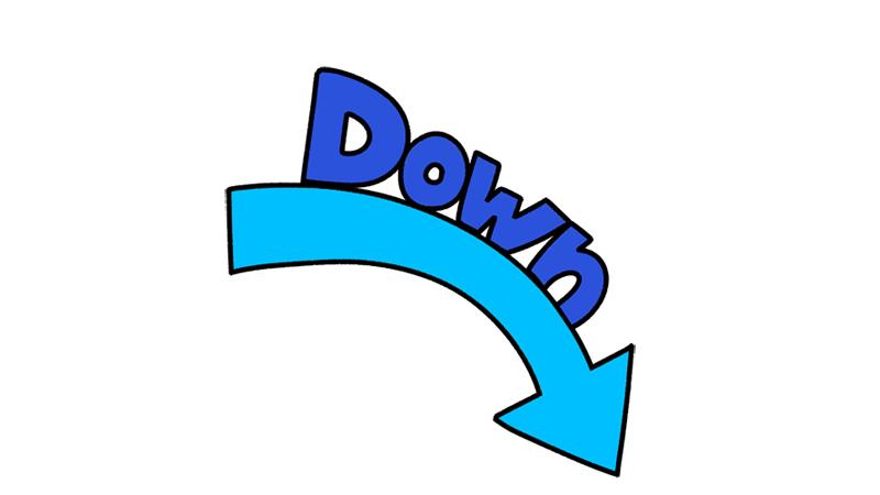 ダウンする(下がる)矢印イラスト