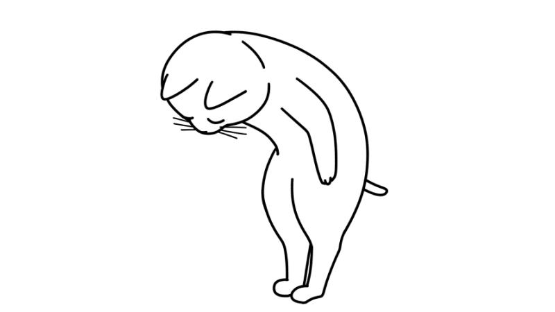 手を横に添えてお辞儀する猫のイラスト