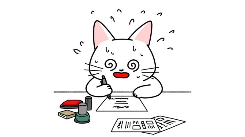 仕事が忙しくて目が回る猫のイラスト