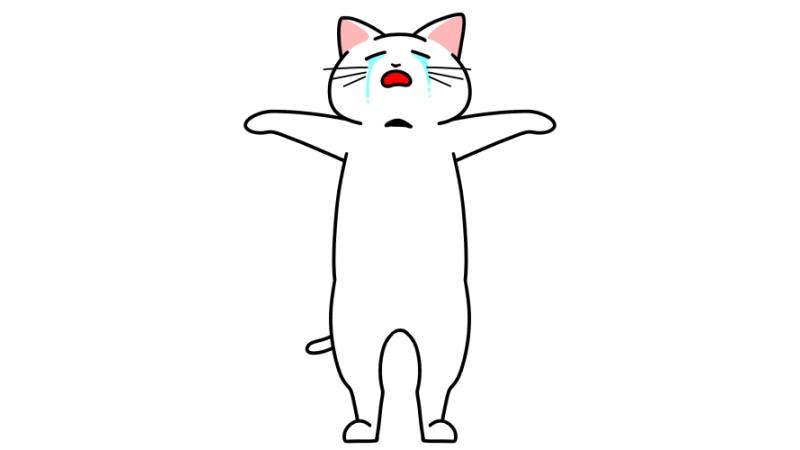 泣きながら天を仰ぐ猫のイラスト