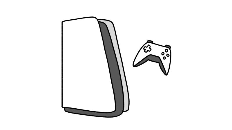白黒のゲーム機とコントローラーのイラスト