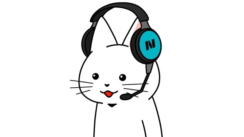 ヘッドセットをしている猫のイラスト