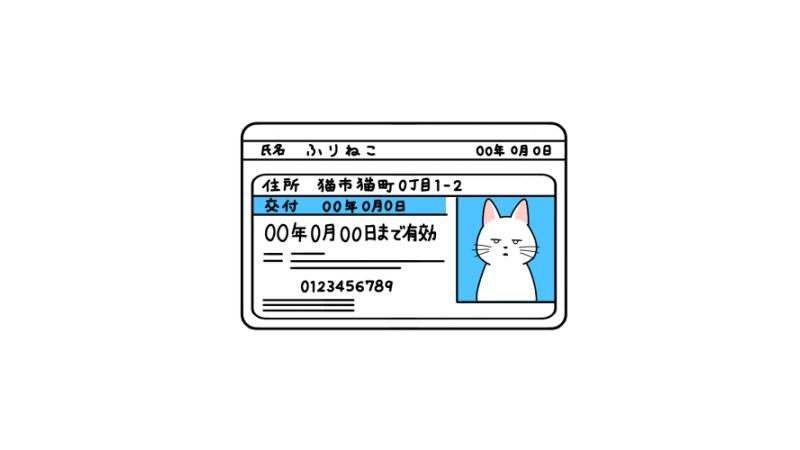 変な顔写真の免許証のイラスト