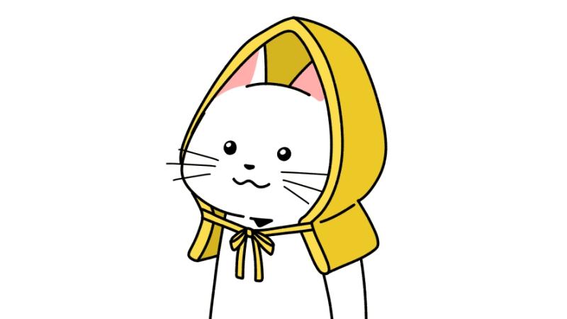 防災頭巾をかぶる猫のイラスト