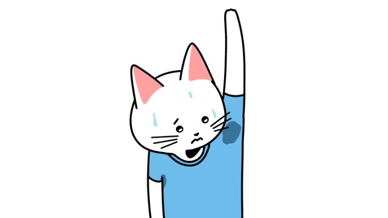 脇の汗が気になる猫のイラスト