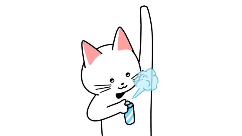 脇に制汗スプレー(デオドラントスプレー)をする猫のイラスト