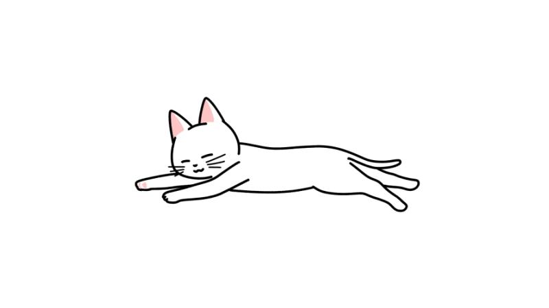 リラックスしている猫のイラスト