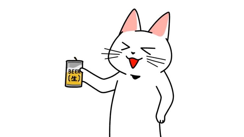 缶ビールを飲む猫のイラスト