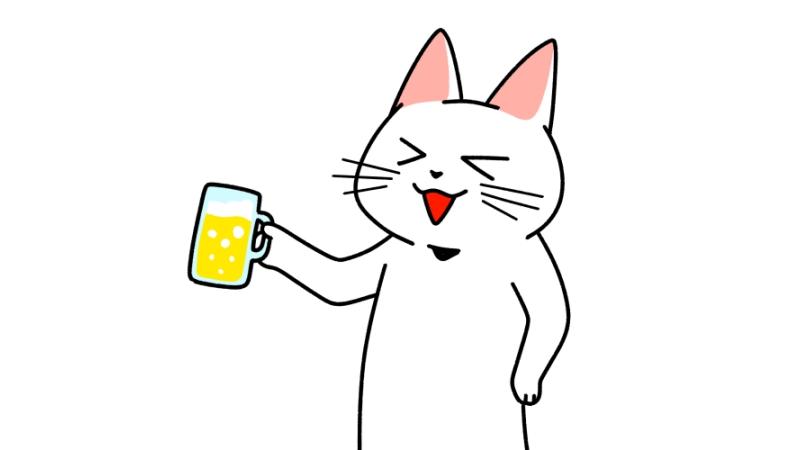 ジョッキでビールを飲む猫のイラスト