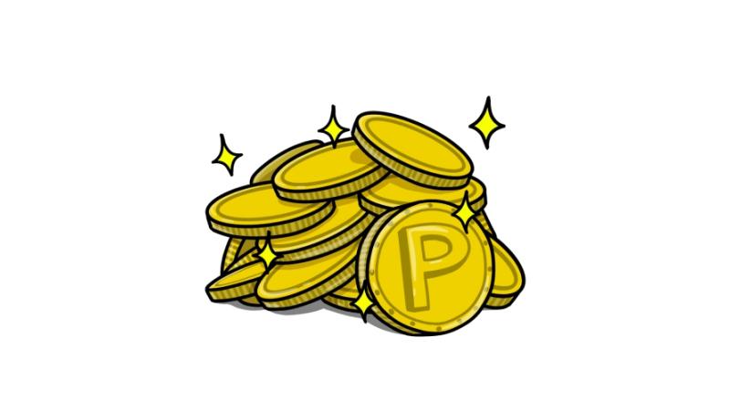 キラキラしたポイントコインのイラスト