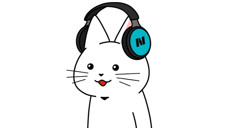 ヘッドフォンをしている猫のイラスト