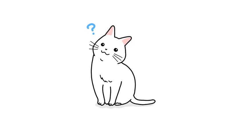 首を傾げる猫のイラスト(ハテナ付き)アイキャッチ
