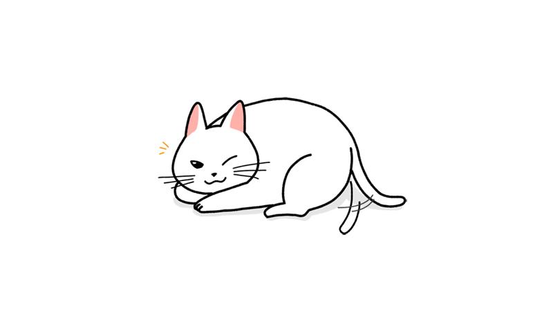 飼い主の視線に気づく猫のイラストアイキャッチ