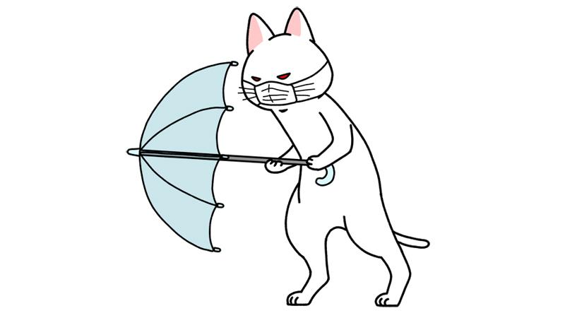 ウイルスの飛沫を傘で防ぐイラスト