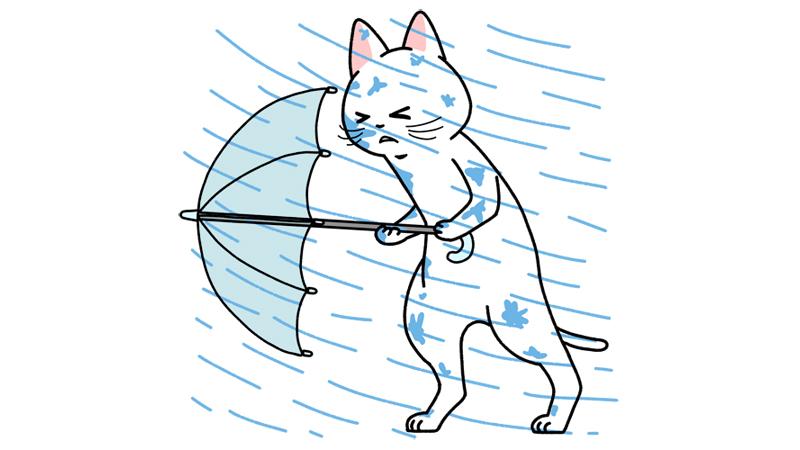 台風の豪雨の中を歩くイラスト