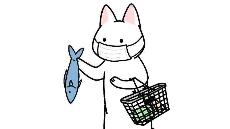 マスクをしてスーパーで買い物するイラスト(アップ)