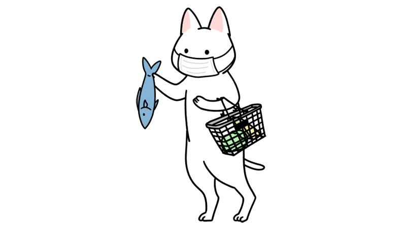 マスクをしてスーパーで買い物するイラスト(全身)