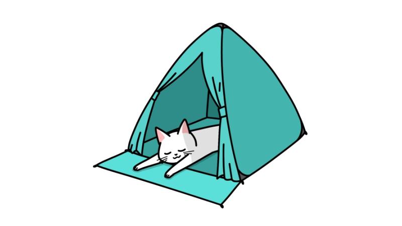 ワンタッチテントで寝る猫のイラスト