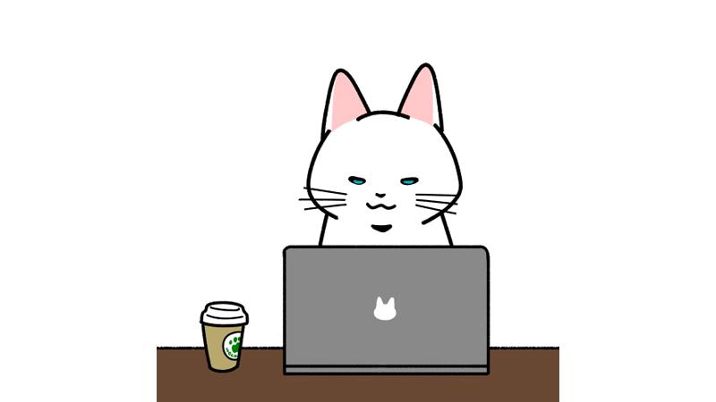 カフェでパソコン作業をするイラストのアイキャッチ