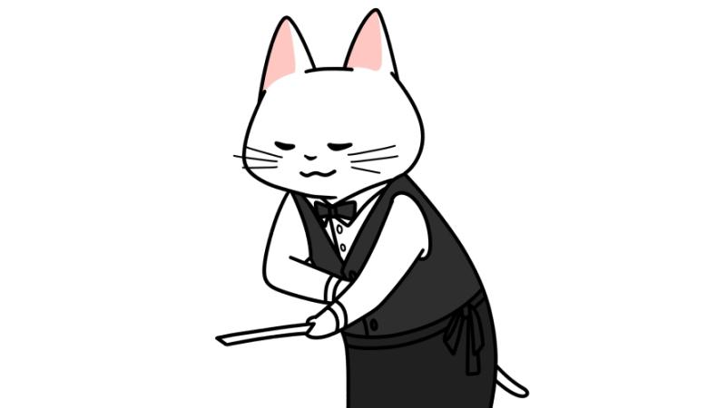 お皿を下げるウェイター猫のイラスト