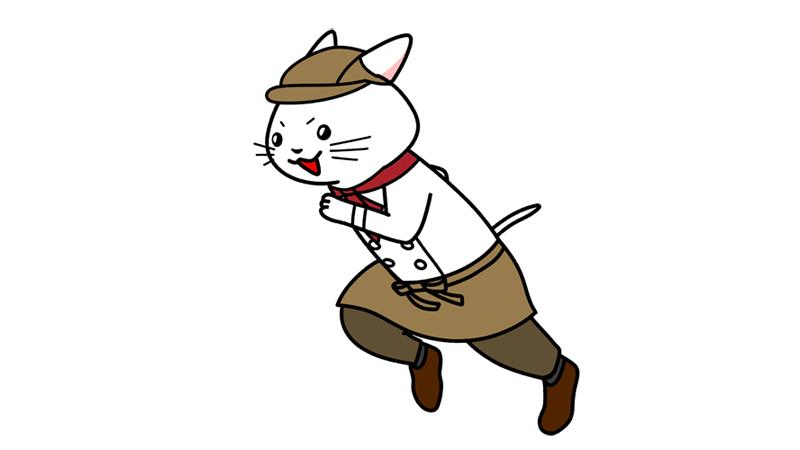 笑顔で走るパン屋さん(パティシエ)のイラスト