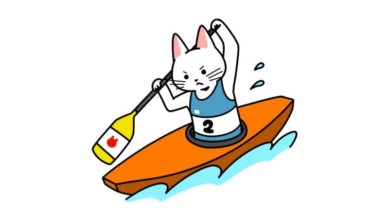 カヌー(スラローム・カナディアンシングル)をする猫のイラスト(ユニフォームあり)
