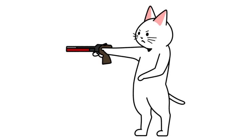 射撃(レーザーラン)をする猫のイラスト