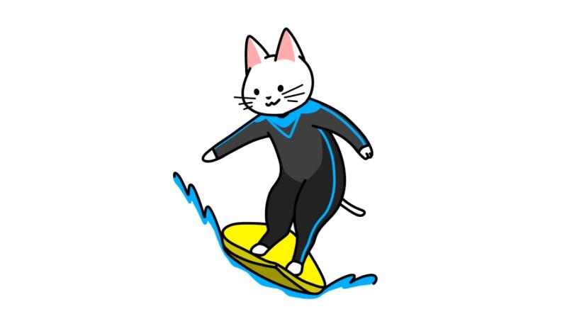 サーフィンする猫のイラスト(ユニフォームあり)