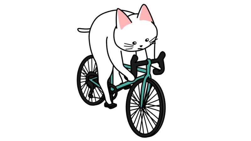 ロードバイク(自転車)で走る猫のイラスト