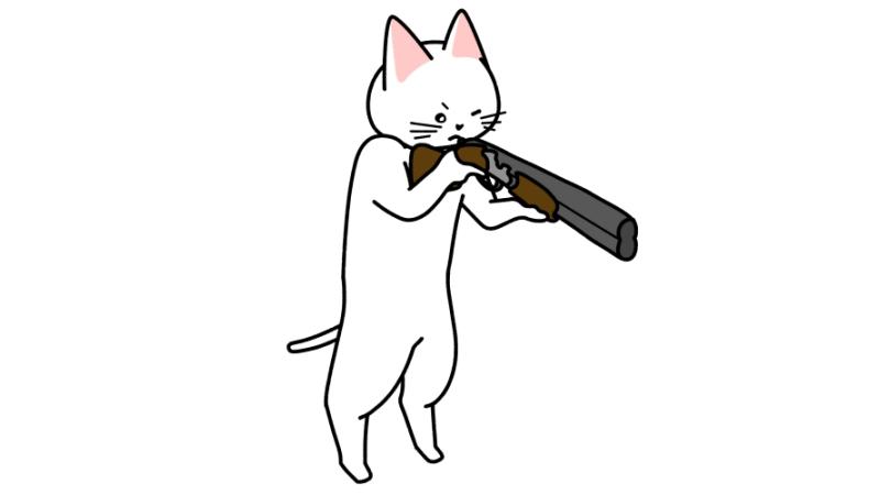 ライフルで射撃する猫のイラスト