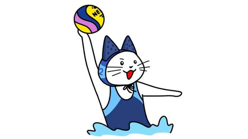 水球でボールを投げる猫のイラスト(ユニフォームあり)