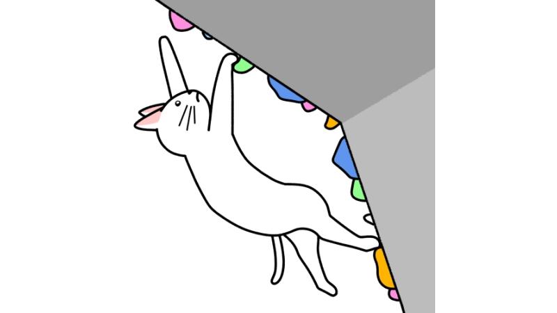 スポーツクライミング(ボルダリング)をする猫のイラスト