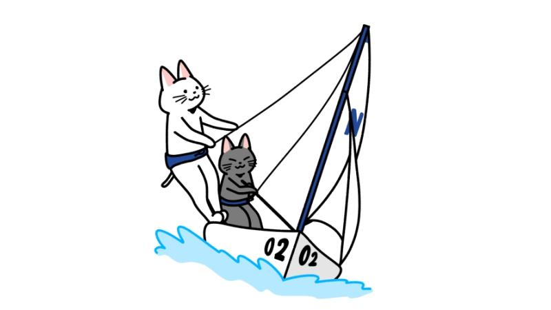 セーリングする猫のイラスト