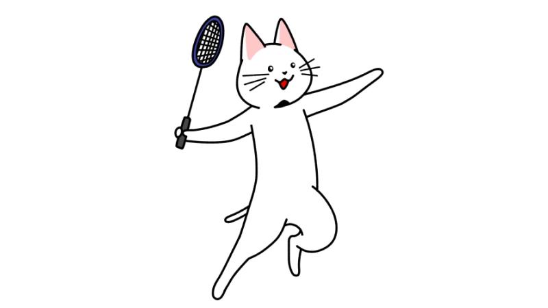 バドミントンをする猫のイラスト