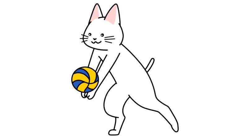 バレーボールをする猫のイラスト