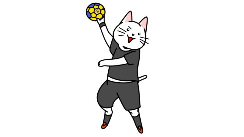 ハンドボールをする猫のイラスト(ユニフォームあり)
