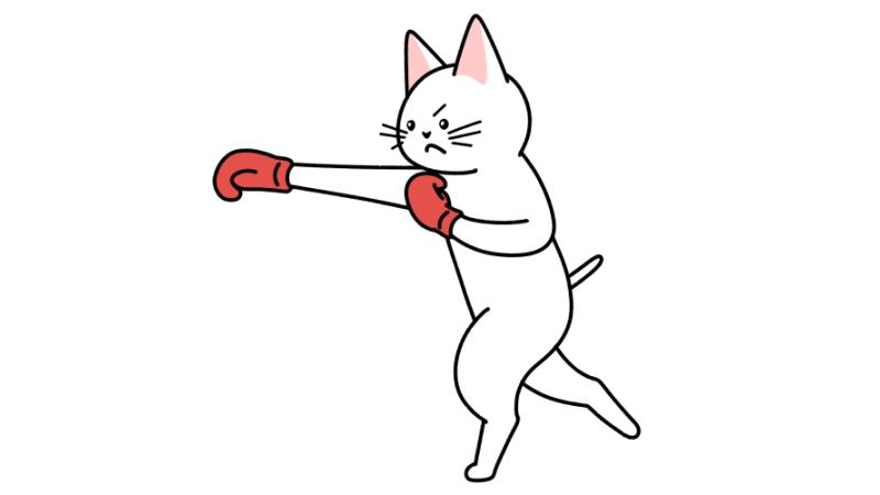 ボクシングでパンチする猫のイラスト